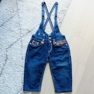 COOGI Blue Denim Multi-color Embroidery Overall